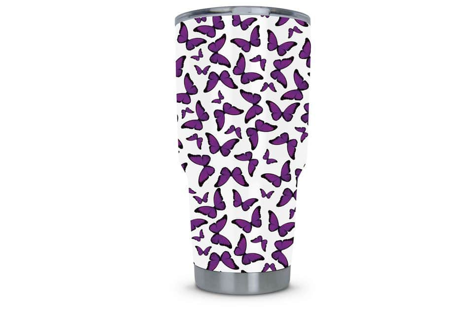 Women's Tumbler Dipped in Butterfly Hydrographic Film