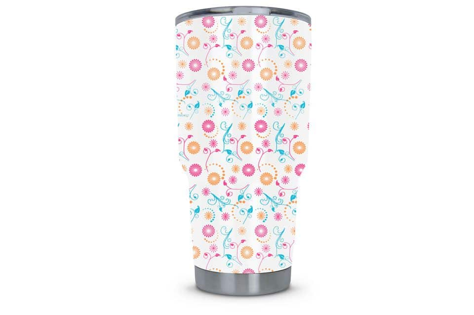 Women's Tumbler Dipped in Flower Doodle Hydrographic Film