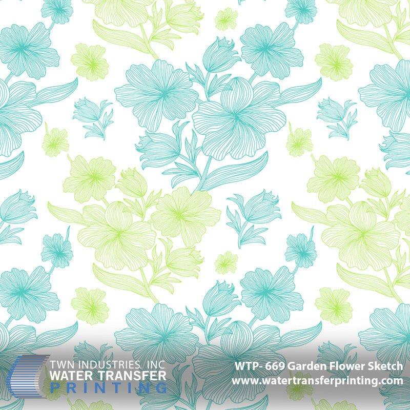 WTP-669 Garden Flower Sketch Hydrographic Film