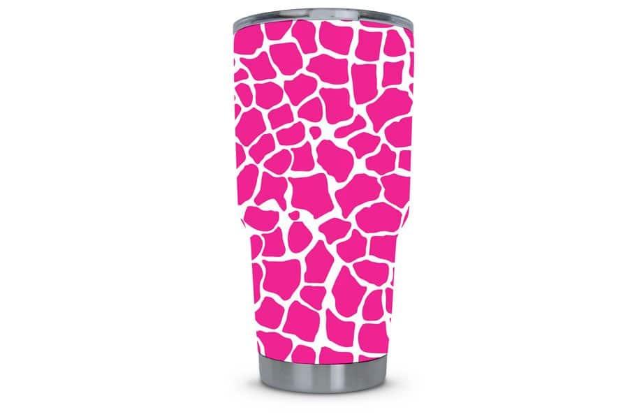 Hot Pink Giraffe Dipped Tumbler