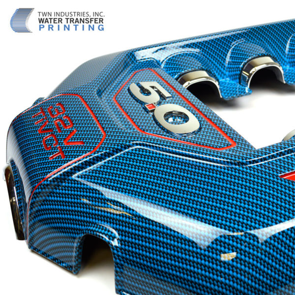 Blue Carbon Fiber Hydrographic Film on Engine Cover