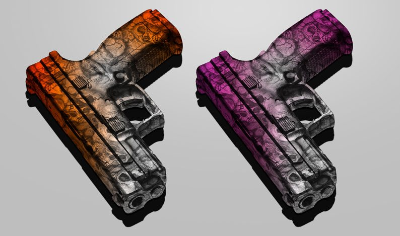 Pistols Dipped in Devil's Kanyon Skull Hydrographic Film