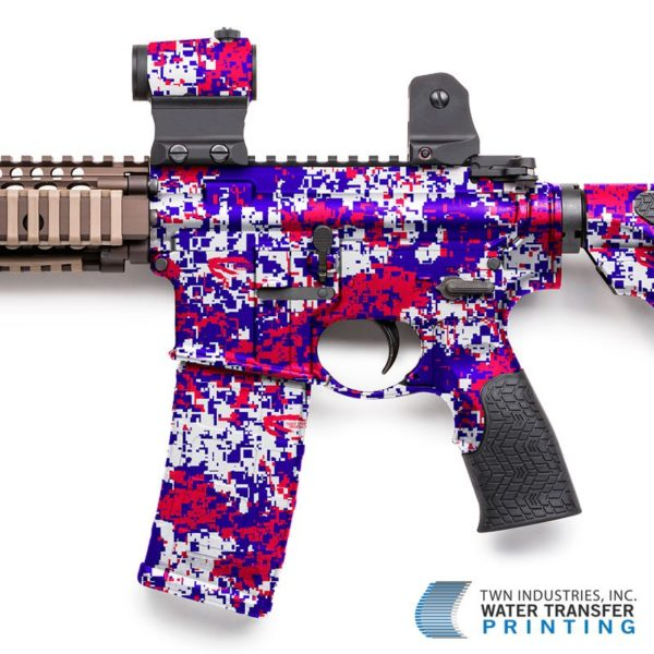 Rifle Dipped in Red, White & Blue Digital Hydrographic Film