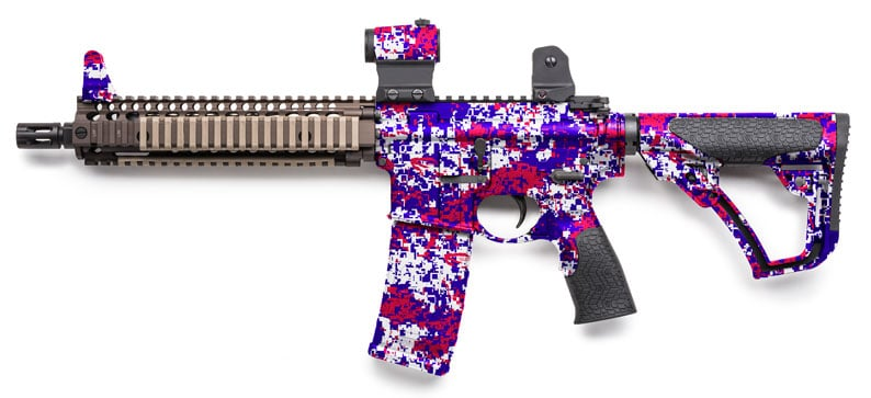 Rifle Dipped in Red, White, and Blue Digital Hydrographic Film