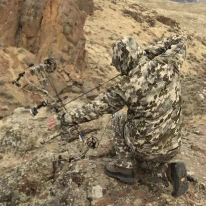 Wonrate Gear Camouflage on a Hoyt Bow