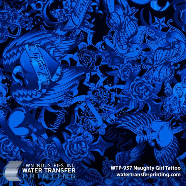 WTP-957 Naughty Girl Tattoo Hydrographic Film by ShawNaughty Designz - Blue
