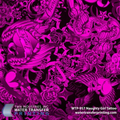 WTP-957 Naughty Girl Tattoo Hydrographic Film by ShawNaughty Designz - Pink