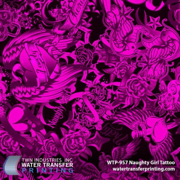 WTP-957 Naughty Girl Tattoo Hydrographic Film by ShawNaughty Designz - Pink