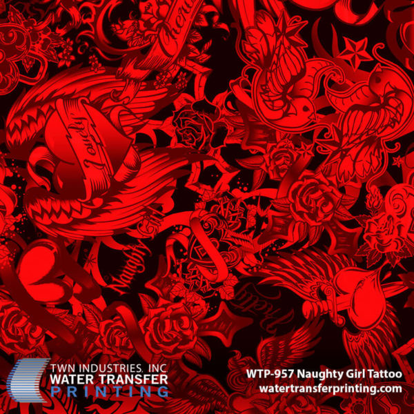 WTP-957 Naughty Girl Tattoo Hydrographic Film by ShawNaughty Designz - Red