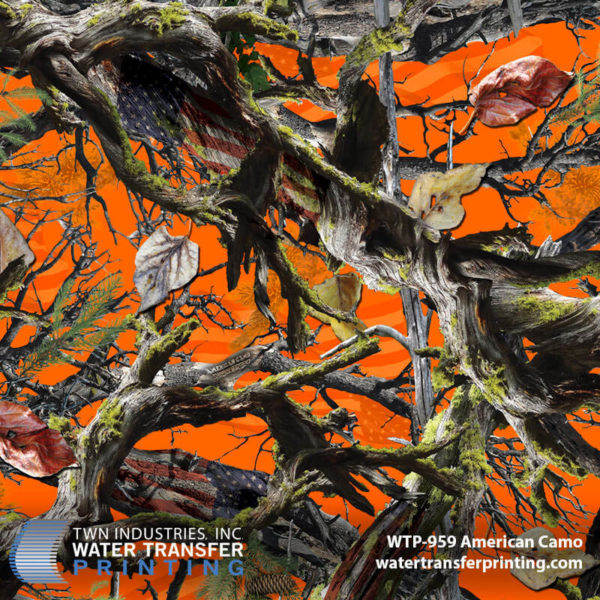 WTP-959 American Camo Hydrographic Film by ShawNaughty Designz - Orange