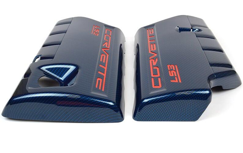 Corvette Engine Cover Hydro Dipped in Carbon Fiber