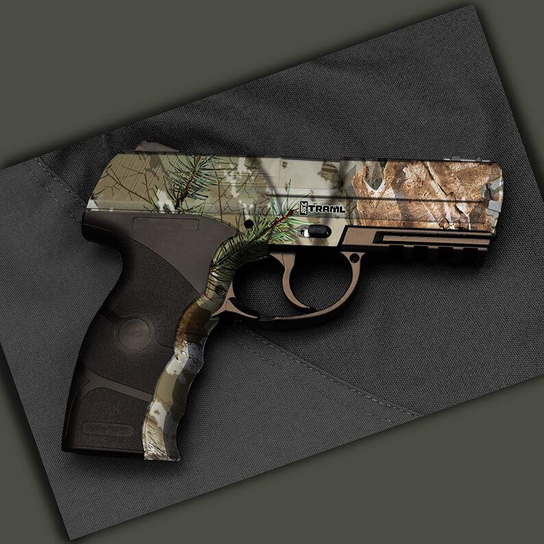Handgun dipped in Traml Hydro Dipping Film