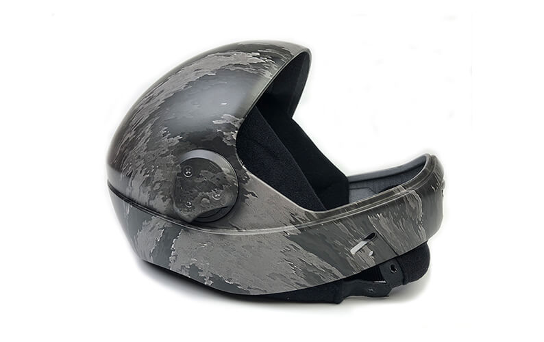 Helmet dipped in ATACS Ghost water transfer printing film