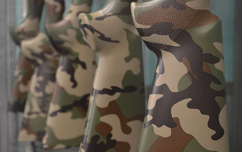 US Woodland M81 Camo Hydro Dipped Rifle Stocks Closeup