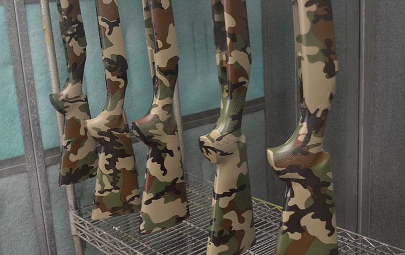 US Woodland M81 Camo Hydro Dipped Rifle Stocks Paint Booth